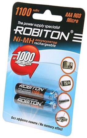 Мизинчиковые аккумуляторные батарейки для фонарика Robiton AAA 1100 mAh