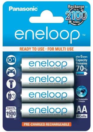 Аккумуляторные батарейки с низким саморазрядом АА Eneloop Panasonic 1900mAh