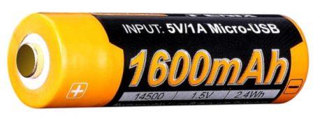 Литиевый акб AA Fenix ARB-L14-1600U с USB портом для зарядки