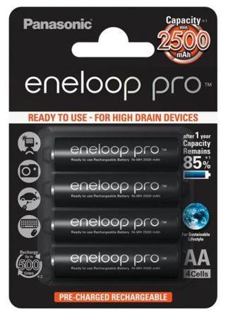 Аккумуляторные батарейки для фонарика Panasonic Eneloop AA 2500 mAh