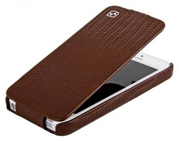 чехол Hoco iPhone 5 Lizard pattern Leather Case brown