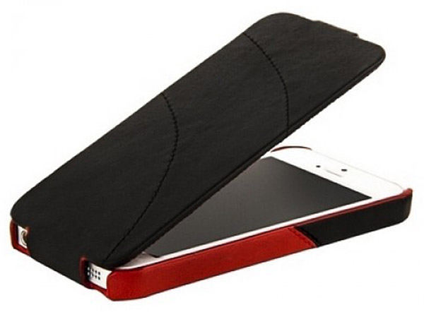 чехол Hoco iPhone 5 Mixed color Leather Case black/red