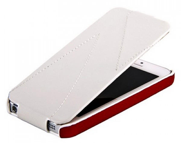 чехол Hoco iPhone 5 Mixed color Leather Case white/red