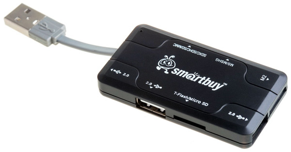 картридер SmartBuy SBRH-750 HUB+card reader black