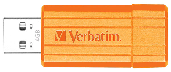 флешка USB Verbatim PinStripe 4Gb orange