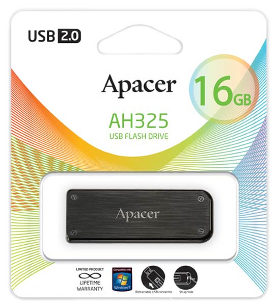 флешка USB Apacer AH325 16Gb black