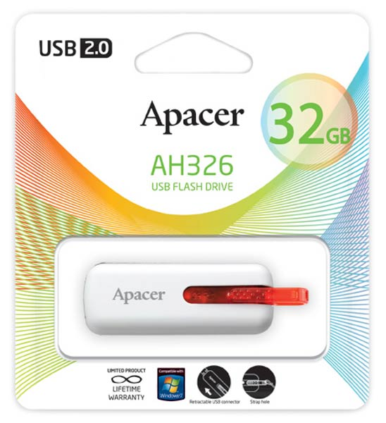 флешка USB Apacer AH326 32Gb white