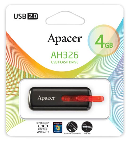 флешка USB Apacer AH326 4Gb black red