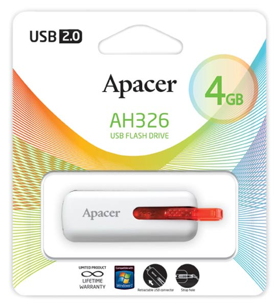 флешка USB Apacer AH326 4Gb white