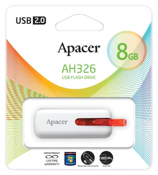 флешка USB Apacer AH326 8Gb white