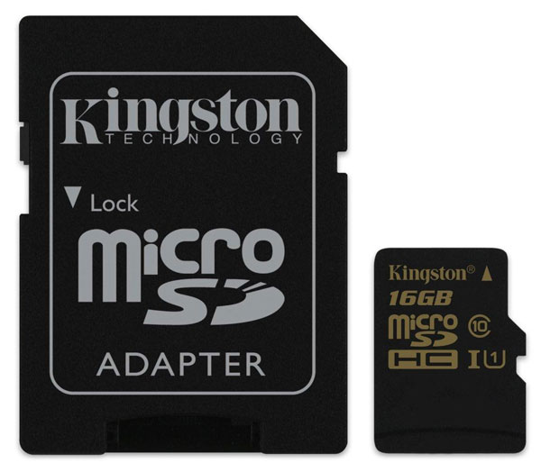 карта памяти Kingston 16Gb microSD Class 10 UHS-I