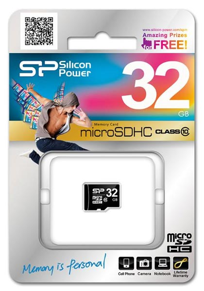 карта памяти Silicon Power 32Gb microSDHC Class 10 без адаптера