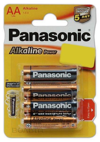 батарейки Panasonic LR6/AA Alkaline Power-3+1BL