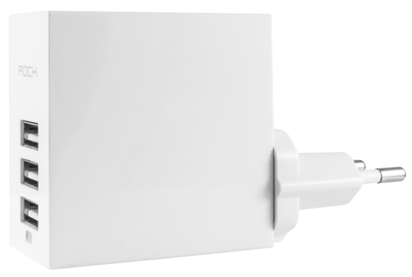 зарядное устройство Rock Trident Travel Charger 3 USB 4,4 A white