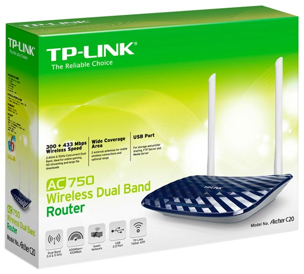 Wi-Fi маршрутизатор TP-LINK Archer C20 (AC750)