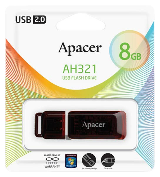 флешка USB Apacer AH321 8Gb red