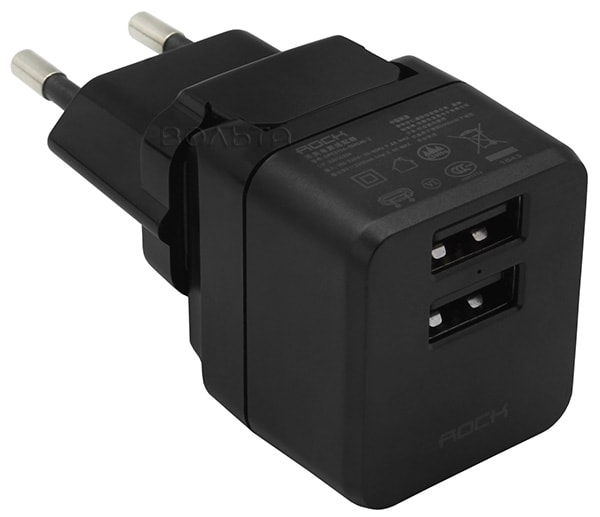 зарядное устройство Rock Mini Tank Travel Chargerr 2 USB 2,4 A black