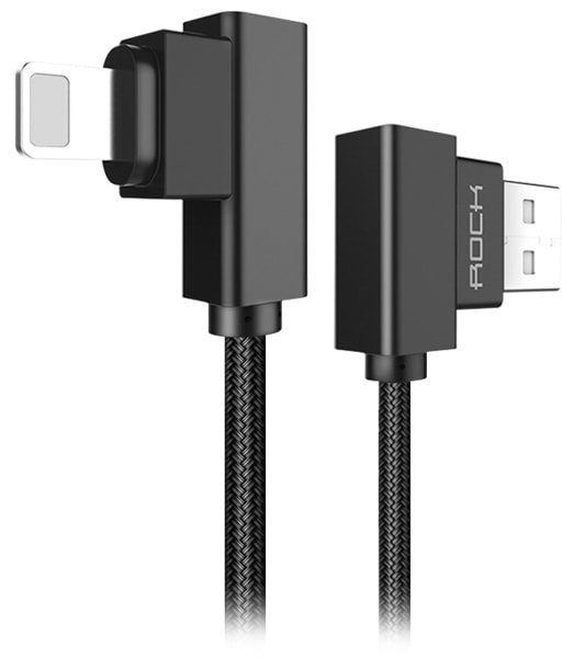угловой кабель для iPhone Rock Lightning to USB Dual-end-L-shape cable 1 м black