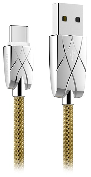 кабель передачи данных Rock Metal Type C  to USB data cable 100 cm gold