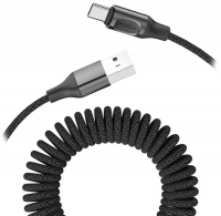 кабель передачи данных Rock Type-C Metal Stretchable Charge & Sync Cable black